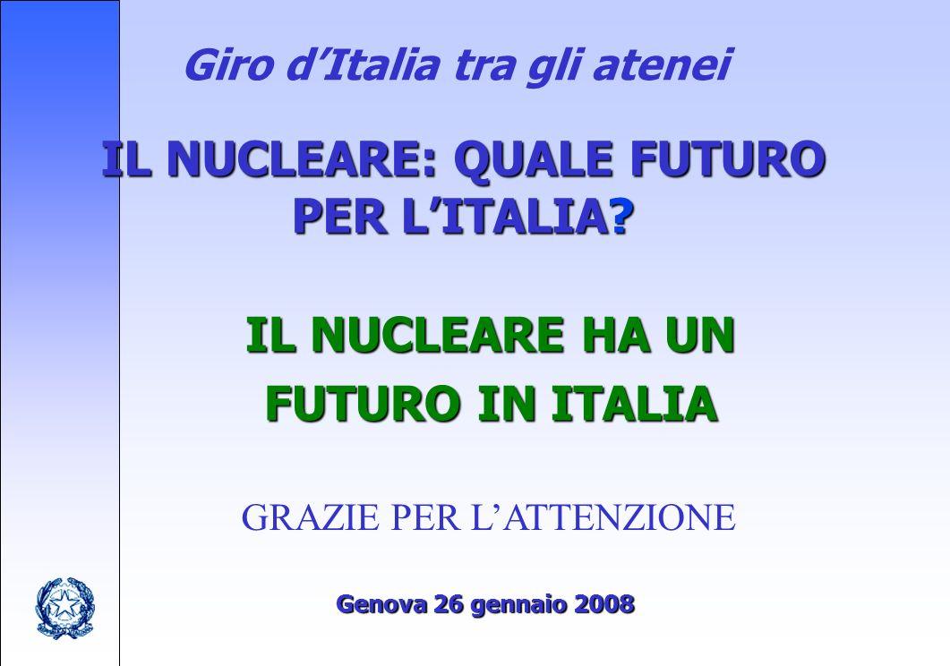 Giro dItalia tra gli atenei IL NUCLEARE: QUALE FUTURO PER LITALIA.