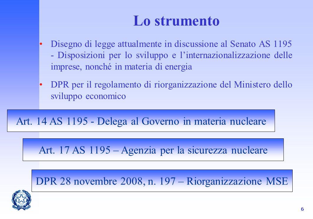 6 Lo strumento Disegno di legge attualmente in discussione al Senato AS 1195 - Disposizioni per lo sviluppo e linternazionalizzazione delle imprese, nonché in materia di energia DPR per il regolamento di riorganizzazione del Ministero dello sviluppo economico Art.