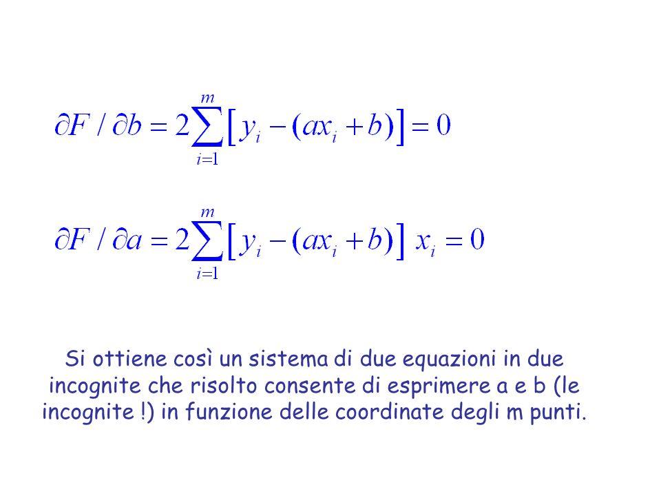 Si ottiene così un sistema di due equazioni in due incognite che risolto consente di esprimere a e b (le incognite !) in funzione delle coordinate deg