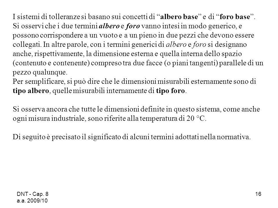 DNT - Cap. 8 a.a. 2009/10 16 I sistemi di tolleranze si basano sui concetti di albero base e di foro base. Si osservi che i due termini albero e foro