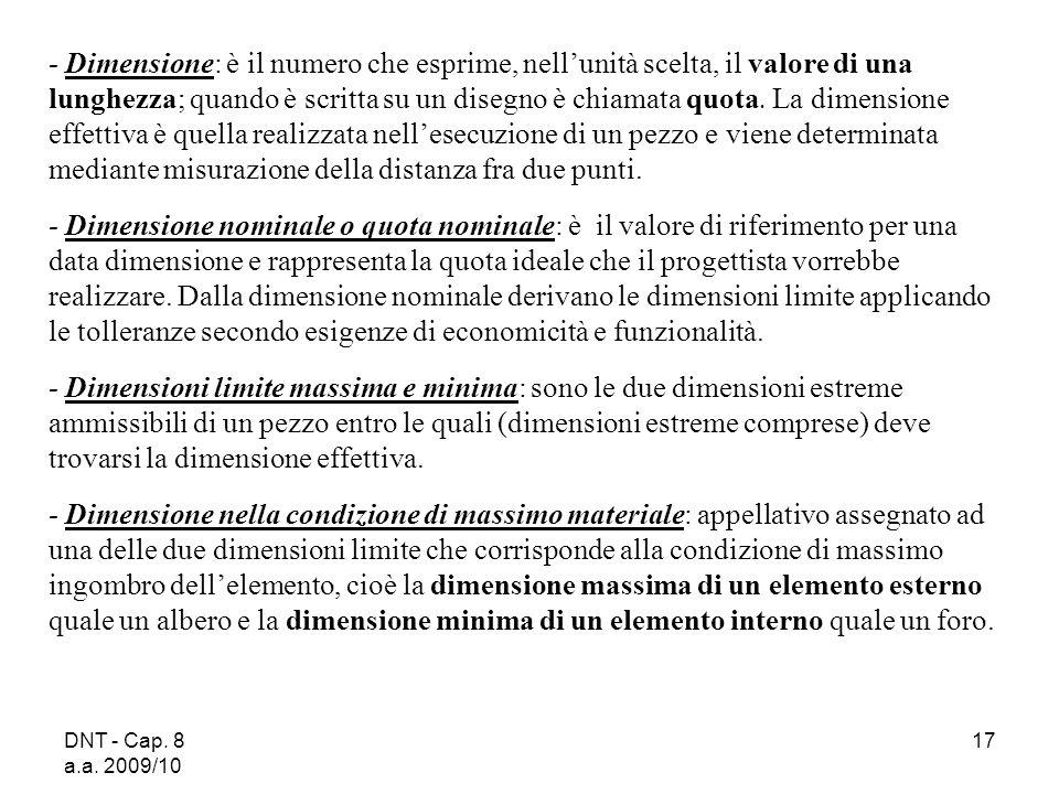 DNT - Cap. 8 a.a. 2009/10 17 Dimensione: è il numero che esprime, nellunità scelta, il valore di una lunghezza; quando è scritta su un disegno è chiam
