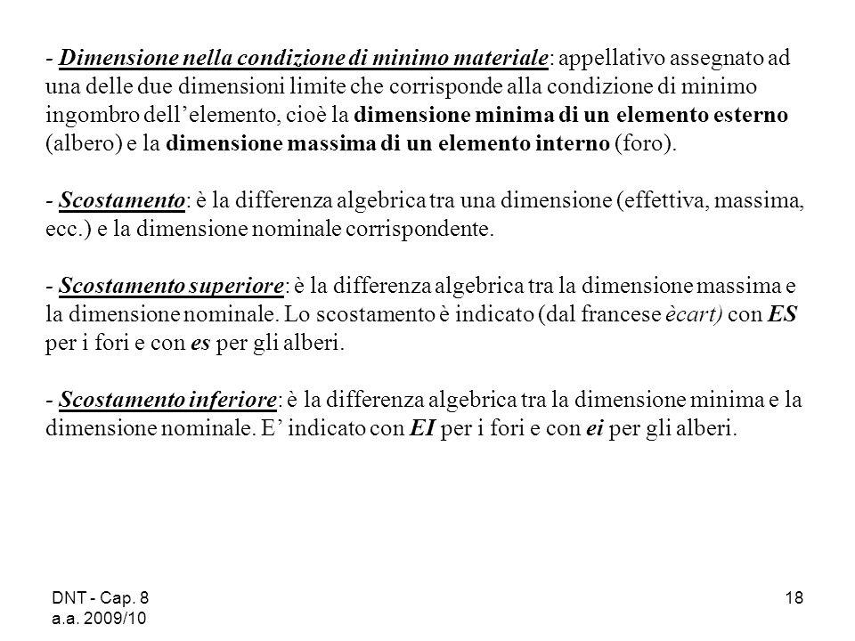 DNT - Cap. 8 a.a. 2009/10 18 Dimensione nella condizione di minimo materiale: appellativo assegnato ad una delle due dimensioni limite che corrisponde