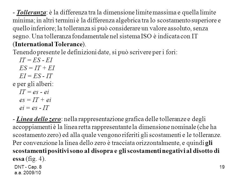 DNT - Cap. 8 a.a. 2009/10 19 Tolleranza: è la differenza tra la dimensione limite massima e quella limite minima; in altri termini è la differenza alg