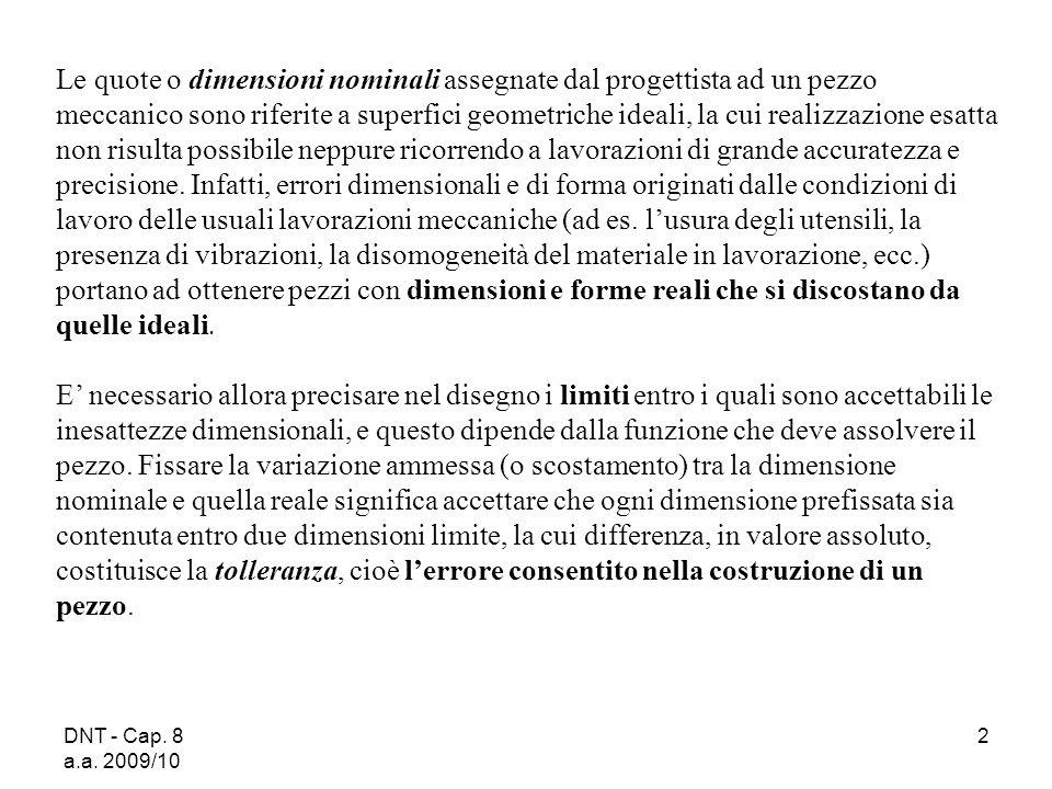 DNT - Cap. 8 a.a. 2009/10 2 Le quote o dimensioni nominali assegnate dal progettista ad un pezzo meccanico sono riferite a superfici geometriche ideal