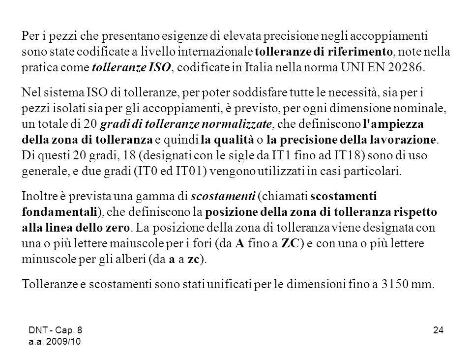 DNT - Cap. 8 a.a. 2009/10 24 Per i pezzi che presentano esigenze di elevata precisione negli accoppiamenti sono state codificate a livello internazion