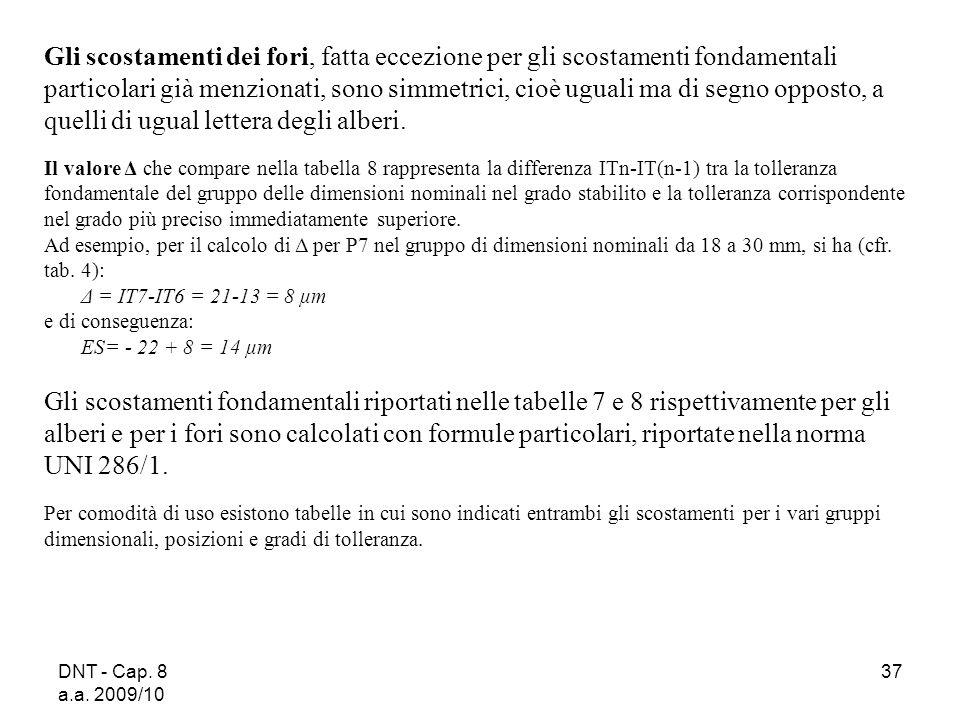 DNT - Cap. 8 a.a. 2009/10 37 Gli scostamenti dei fori, fatta eccezione per gli scostamenti fondamentali particolari già menzionati, sono simmetrici, c
