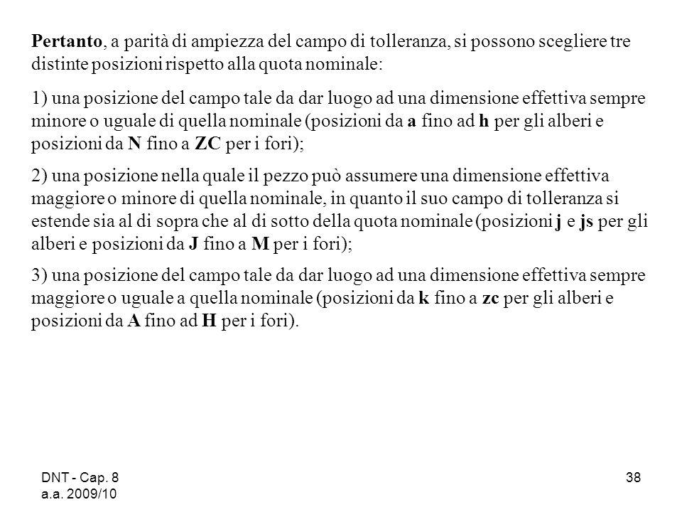DNT - Cap. 8 a.a. 2009/10 38 Pertanto, a parità di ampiezza del campo di tolleranza, si possono scegliere tre distinte posizioni rispetto alla quota n