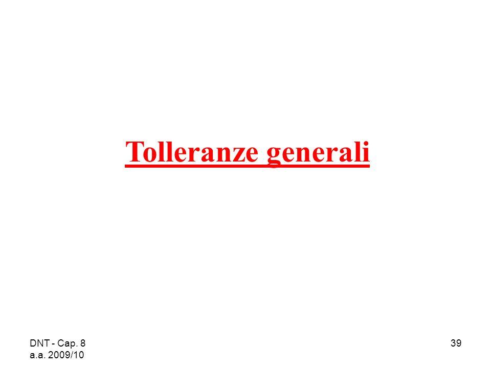 DNT - Cap. 8 a.a. 2009/10 39 Tolleranze generali