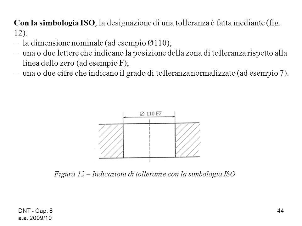 DNT - Cap. 8 a.a. 2009/10 44 Con la simbologia ISO, la designazione di una tolleranza è fatta mediante (fig. 12): la dimensione nominale (ad esempio Ø
