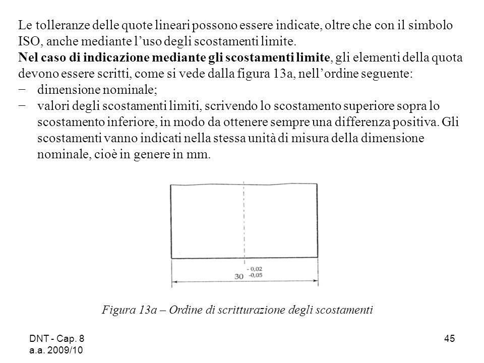 DNT - Cap. 8 a.a. 2009/10 45 Le tolleranze delle quote lineari possono essere indicate, oltre che con il simbolo ISO, anche mediante luso degli scosta