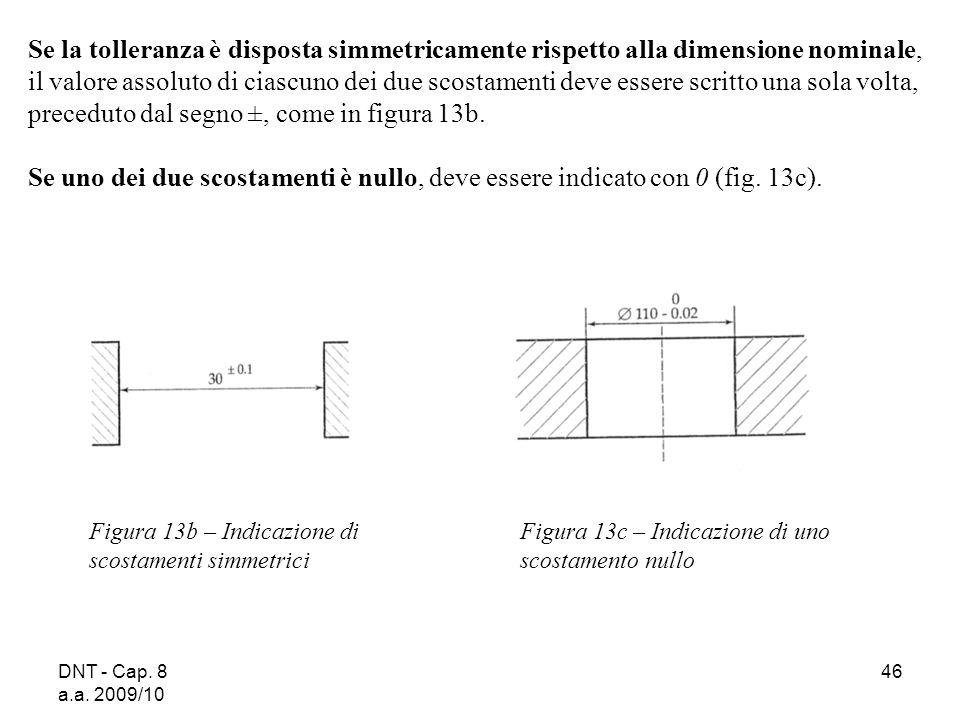DNT - Cap. 8 a.a. 2009/10 46 Figura 13b – Indicazione di scostamenti simmetrici Se la tolleranza è disposta simmetricamente rispetto alla dimensione n