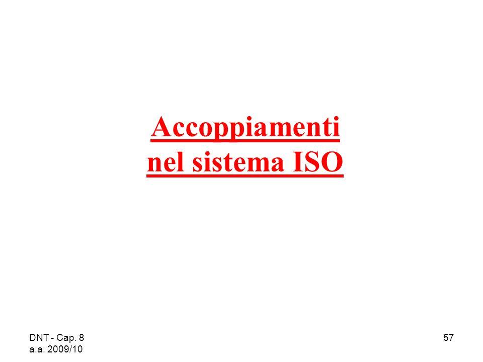 DNT - Cap. 8 a.a. 2009/10 57 Accoppiamenti nel sistema ISO