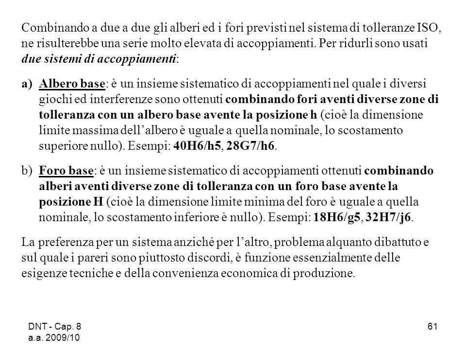 DNT - Cap. 8 a.a. 2009/10 61 Combinando a due a due gli alberi ed i fori previsti nel sistema di tolleranze ISO, ne risulterebbe una serie molto eleva