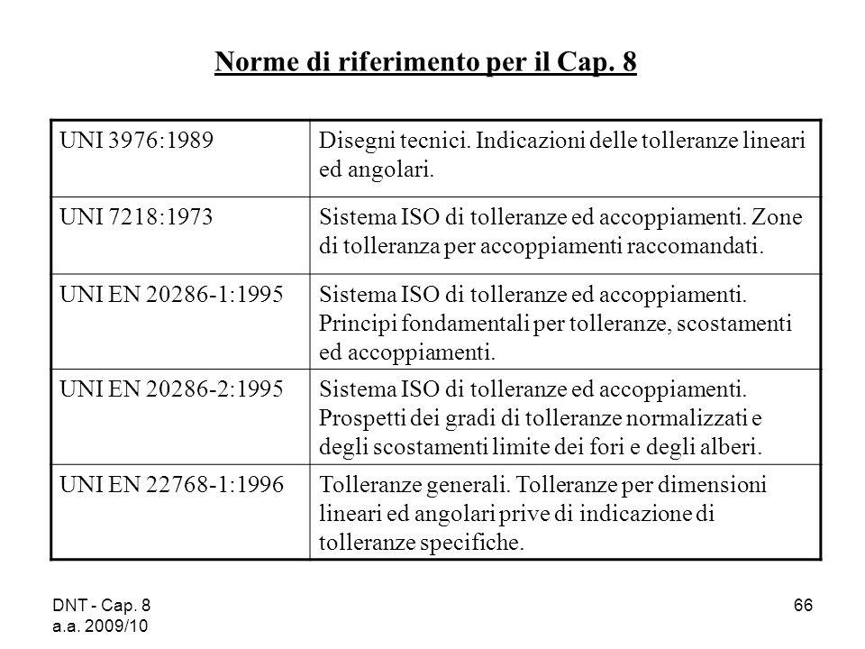 DNT - Cap. 8 a.a. 2009/10 66 Norme di riferimento per il Cap. 8 UNI 3976:1989Disegni tecnici. Indicazioni delle tolleranze lineari ed angolari. UNI 72