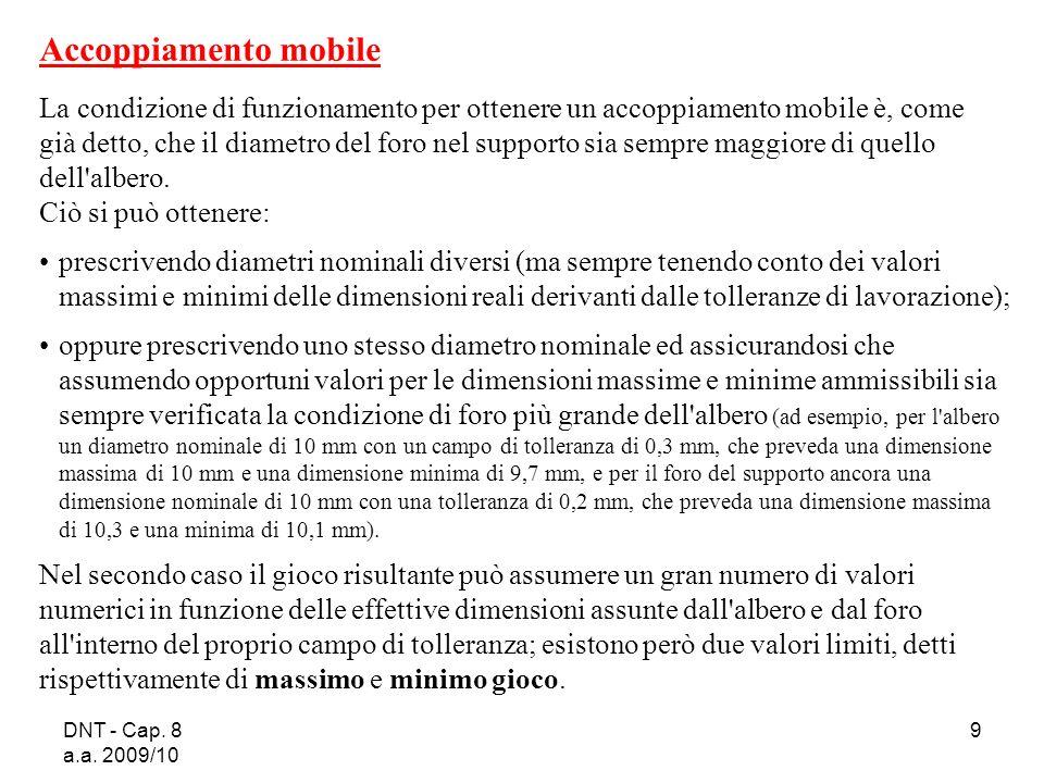 DNT - Cap. 8 a.a. 2009/10 9 Accoppiamento mobile La condizione di funzionamento per ottenere un accoppiamento mobile è, come già detto, che il diametr