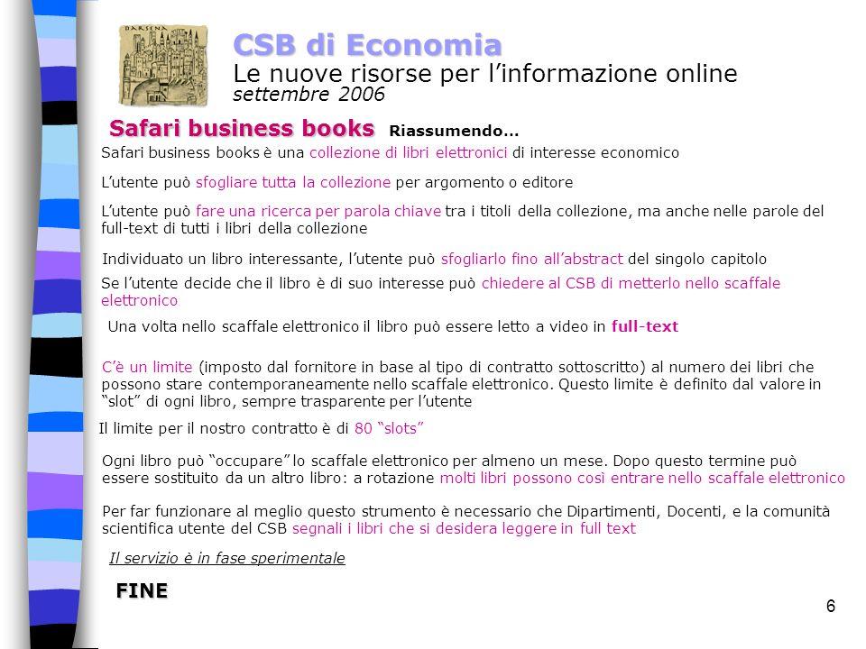 5 CSB di Economia Le nuove risorse per linformazione online settembre 2006 Safari business books Full text.