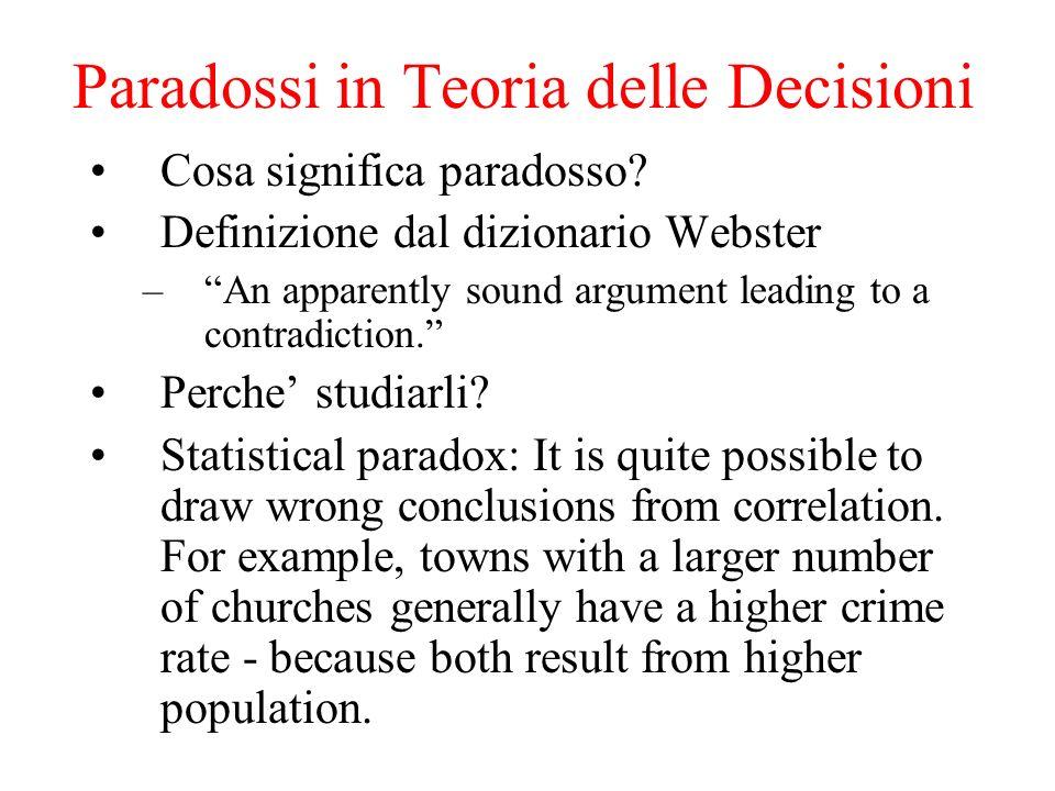 Paradossi in Teoria delle Decisioni Cosa significa paradosso.