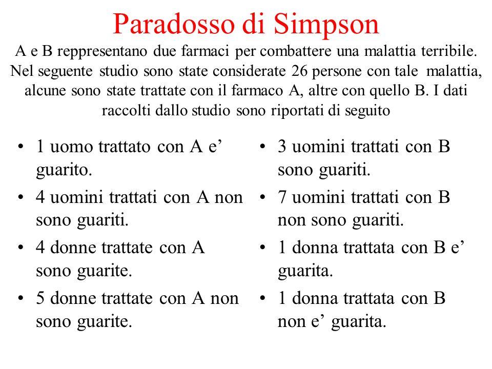 Paradosso di Simpson A e B reppresentano due farmaci per combattere una malattia terribile.