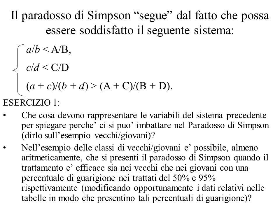 Il paradosso di Simpson segue dal fatto che possa essere soddisfatto il seguente sistema: ESERCIZIO 1: Che cosa devono rappresentare le variabili del sistema precedente per spiegare perche ci si puo imbattare nel Paradosso di Simpson (dirlo sullesempio vecchi/giovani).