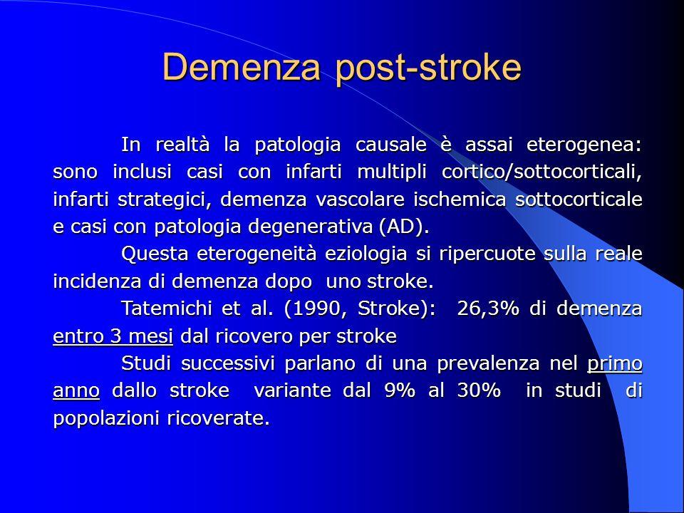 Demenza post-stroke In realtà la patologia causale è assai eterogenea: sono inclusi casi con infarti multipli cortico/sottocorticali, infarti strategi
