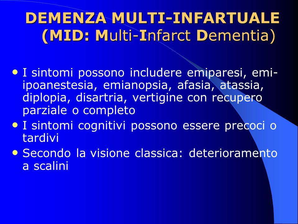 DEMENZA MULTI-INFARTUALE (MID: Multi-Infarct Dementia) I sintomi possono includere emiparesi, emi- ipoanestesia, emianopsia, afasia, atassia, diplopia