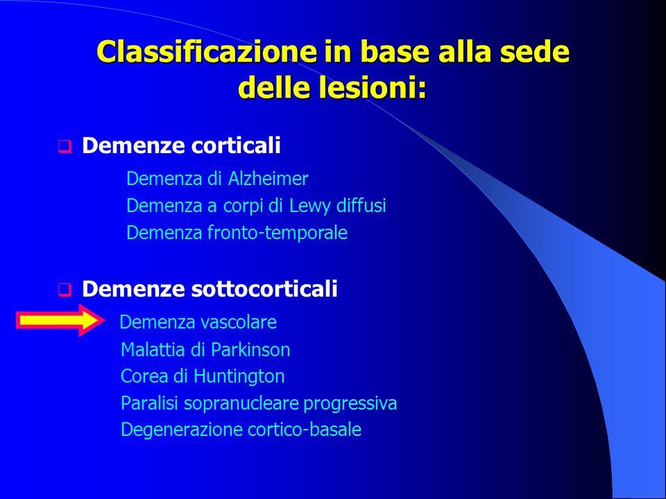 Classificazione in base alla sede delle lesioni: Demenze corticali Demenza di Alzheimer Demenza a corpi di Lewy diffusi Demenza fronto-temporale Demen