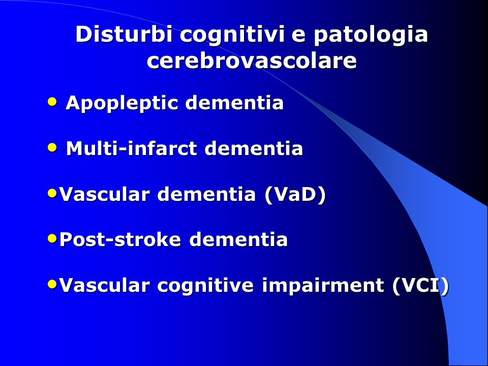 The current narrow definitions of vascular dementia should be broadened to recognise the important part cerebrovascular disease plays in several cognitive disorders, including the hereditary vascular dementias, multi-infarct dementia, post-stroke dementia, subcortical ischaemic vascular disease and dementia, mild cognitive impairment, and degenerative dementias (including Alzheimer s disease, frontotemporal dementia, and dementia with Lewy bodies).