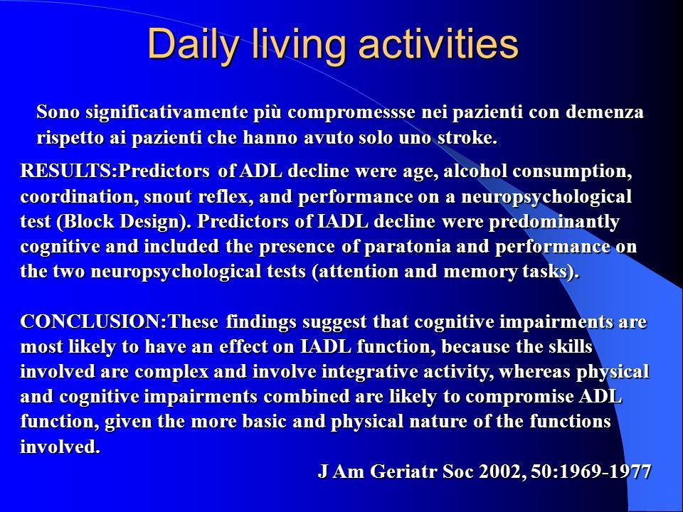Daily living activities Sono significativamente più compromessse nei pazienti con demenza rispetto ai pazienti che hanno avuto solo uno stroke. RESULT