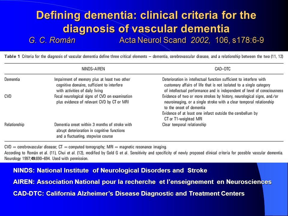 NINDS: National Institute of Neurological Disorders and Stroke AIREN: Association National pour la recherche et lenseignement en Neurosciences CAD-DTC