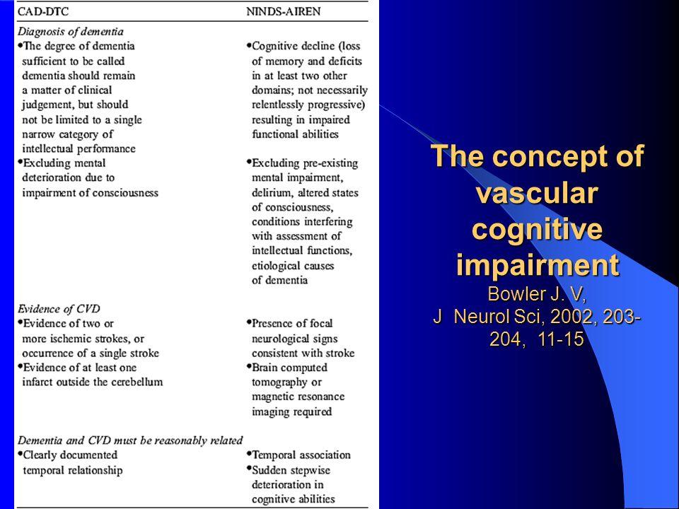 The concept of vascular cognitive impairment Bowler J. V, J Neurol Sci, 2002, 203- 204, 11-15