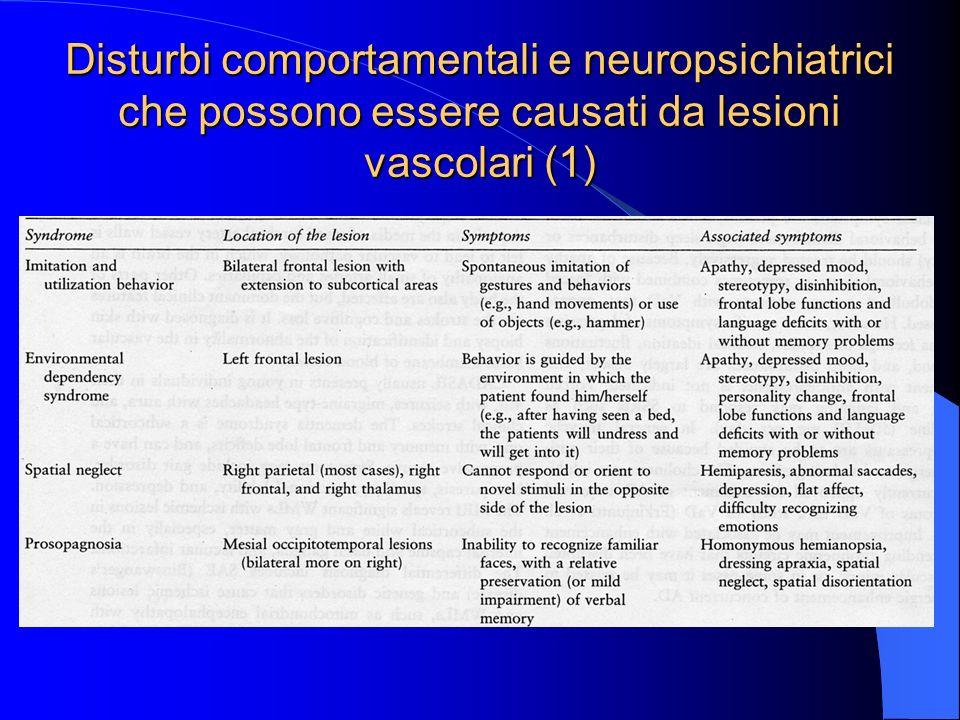 Disturbi comportamentali e neuropsichiatrici che possono essere causati da lesioni vascolari (1)