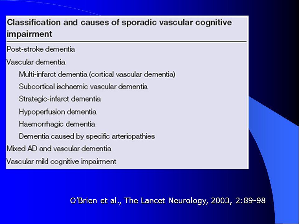 Demenza da infarti strategici Infarti isolati in aree strategicamente localizzate possono causare disturbi cognitivi indipendentemente dalla dimensione della lesione