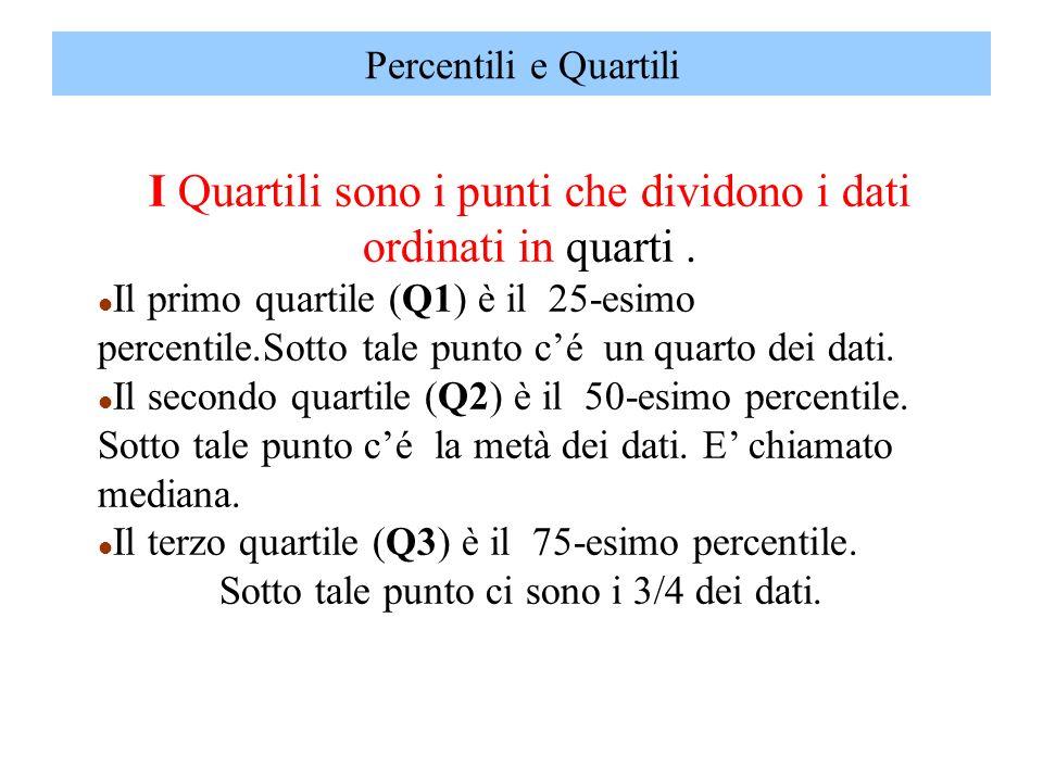 I Quartili sono i punti che dividono i dati ordinati in quarti. l Il primo quartile (Q1) è il 25-esimo percentile.Sotto tale punto cé un quarto dei da