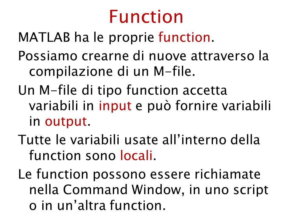 Sintassi di una function function [y 1 … y m ] = func(x 1 … x n ) >> func(x 1 … x n ) per richiamare la function dalla Command Window.