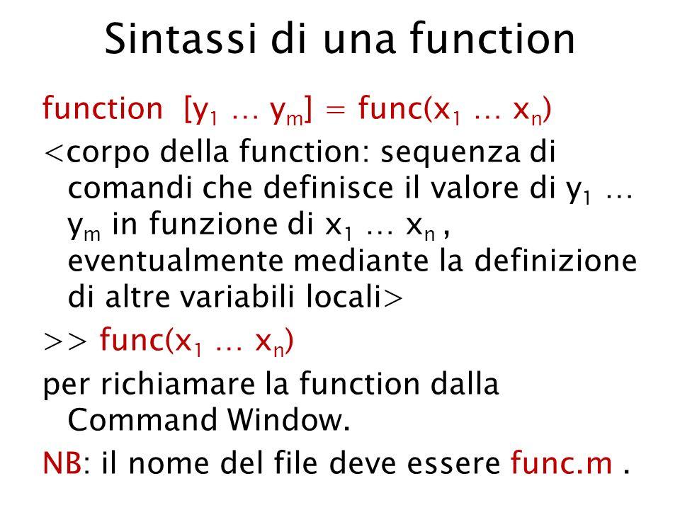 Sintassi di una function function [y 1 … y m ] = func(x 1 … x n ) >> func(x 1 … x n ) per richiamare la function dalla Command Window. NB: il nome del
