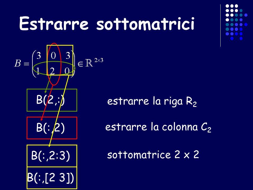 Estrarre sottomatrici estrarre la riga R 2 B(2,:) B(:,2:3) estrarre la colonna C 2 B(:,2) sottomatrice 2 x 2 B(:,[2 3])