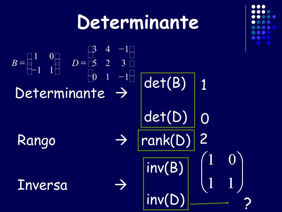 Determinante det(B) det(D) 1010 Inversa inv(B) inv(D) Rango rank(D) 2 ? 110 325 143 11 01 DB