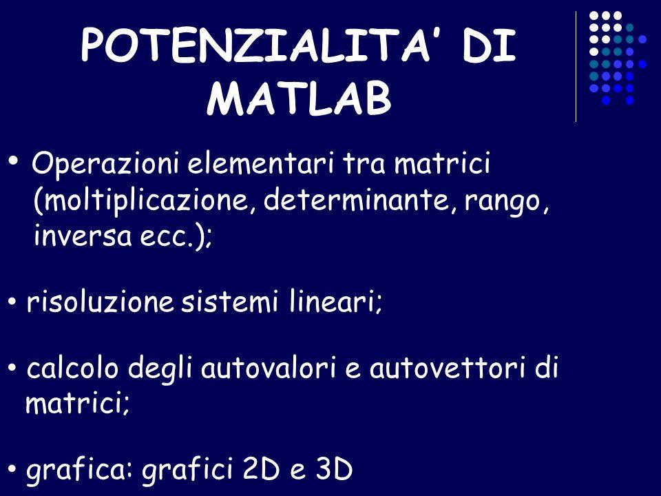 POTENZIALITA DI MATLAB Operazioni elementari tra matrici (moltiplicazione, determinante, rango, inversa ecc.); risoluzione sistemi lineari; calcolo de