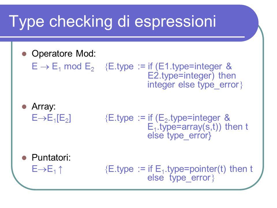 Type checking di espressioni Operatore Mod: E E 1 mod E 2 E.type := if (E1.type=integer & E2.type=integer) then integer else type_error Array: E E 1 [