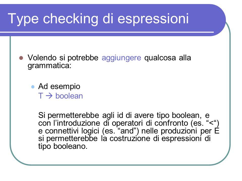 Type checking di espressioni Volendo si potrebbe aggiungere qualcosa alla grammatica: Ad esempio T boolean Si permetterebbe agli id di avere tipo bool