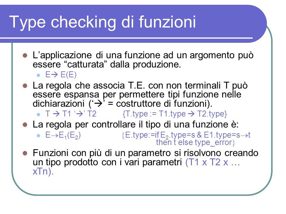 Type checking di funzioni Lapplicazione di una funzione ad un argomento può essere catturata dalla produzione. E E(E) La regola che associa T.E. con n