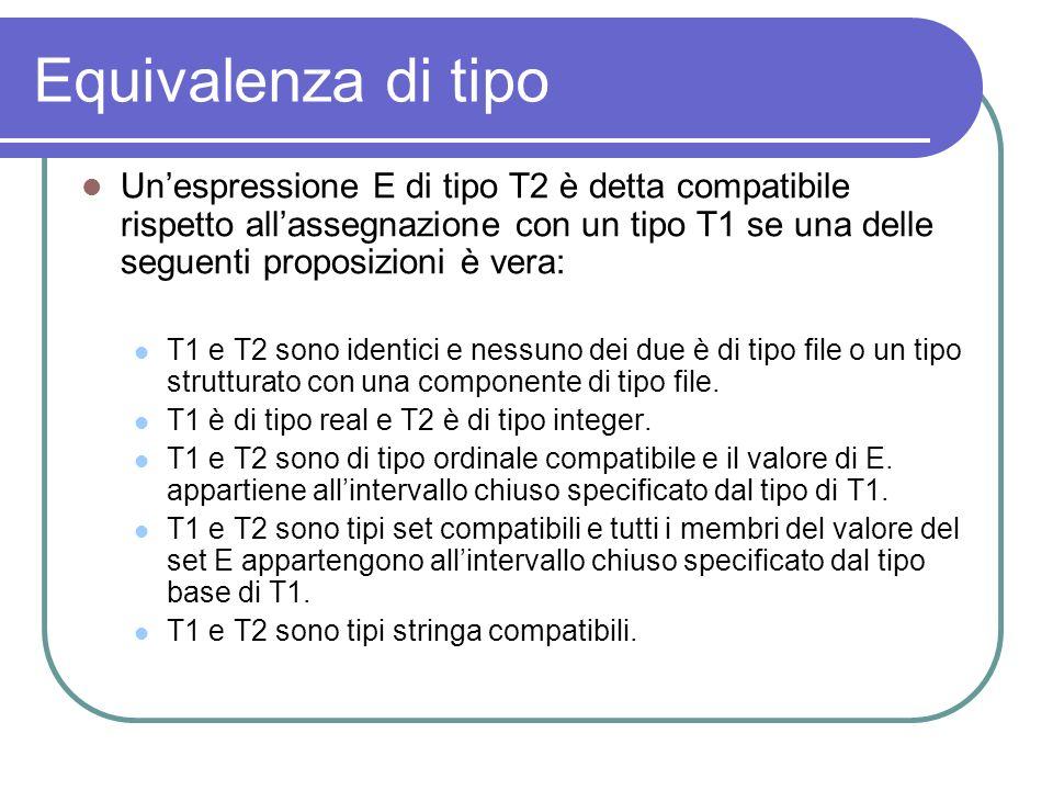 Equivalenza di tipo Unespressione E di tipo T2 è detta compatibile rispetto allassegnazione con un tipo T1 se una delle seguenti proposizioni è vera: