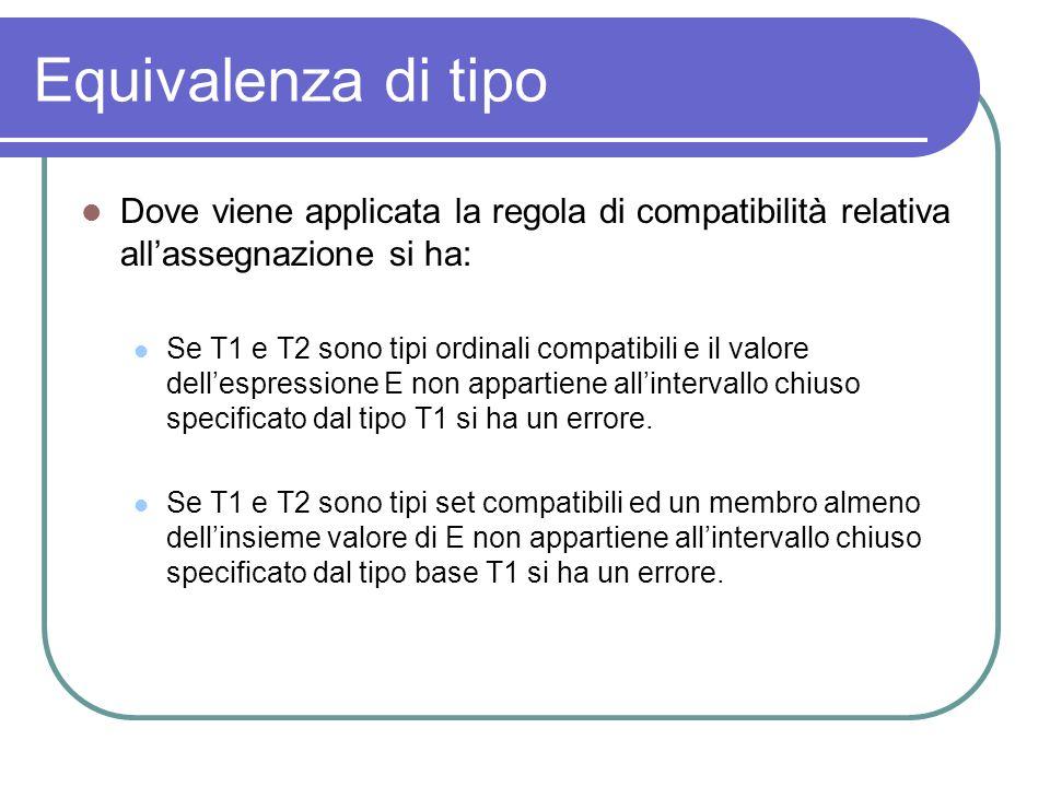 Equivalenza di tipo Dove viene applicata la regola di compatibilità relativa allassegnazione si ha: Se T1 e T2 sono tipi ordinali compatibili e il val
