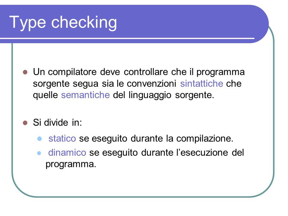 Type checking Un compilatore deve controllare che il programma sorgente segua sia le convenzioni sintattiche che quelle semantiche del linguaggio sorg