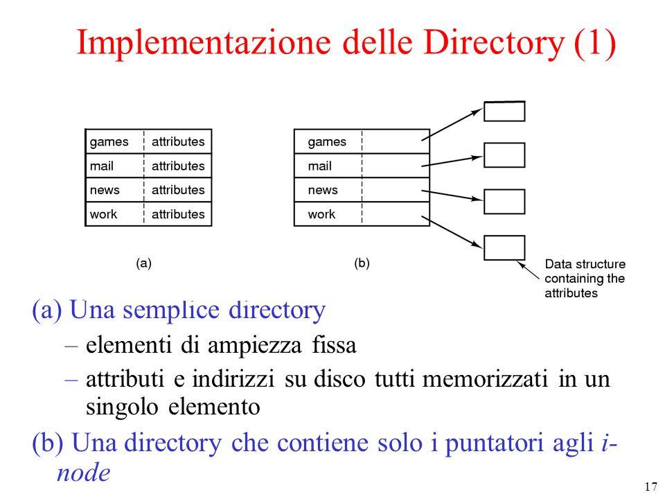 17 Implementazione delle Directory (1) (a) Una semplice directory –elementi di ampiezza fissa –attributi e indirizzi su disco tutti memorizzati in un singolo elemento (b) Una directory che contiene solo i puntatori agli i- node