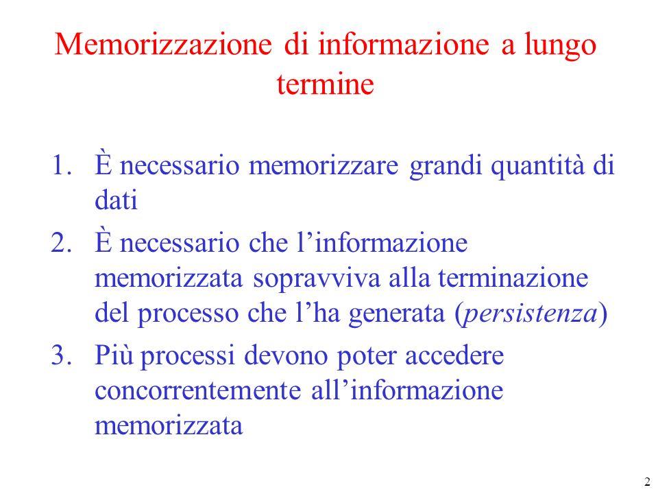 2 Memorizzazione di informazione a lungo termine 1.È necessario memorizzare grandi quantità di dati 2.È necessario che linformazione memorizzata sopravviva alla terminazione del processo che lha generata (persistenza) 3.Più processi devono poter accedere concorrentemente allinformazione memorizzata