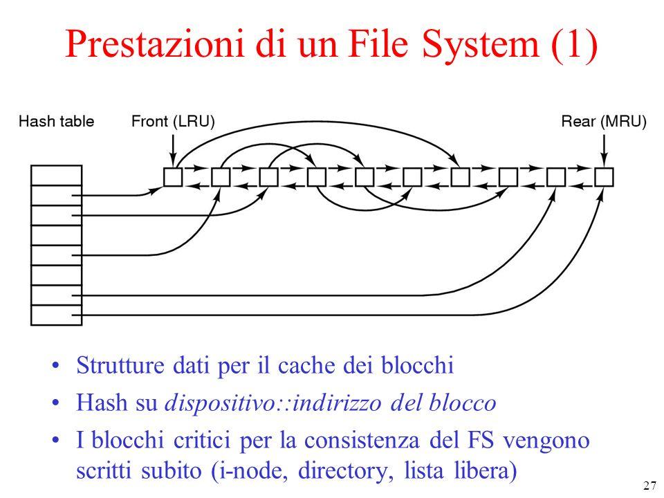 27 Prestazioni di un File System (1) Strutture dati per il cache dei blocchi Hash su dispositivo::indirizzo del blocco I blocchi critici per la consistenza del FS vengono scritti subito (i-node, directory, lista libera)