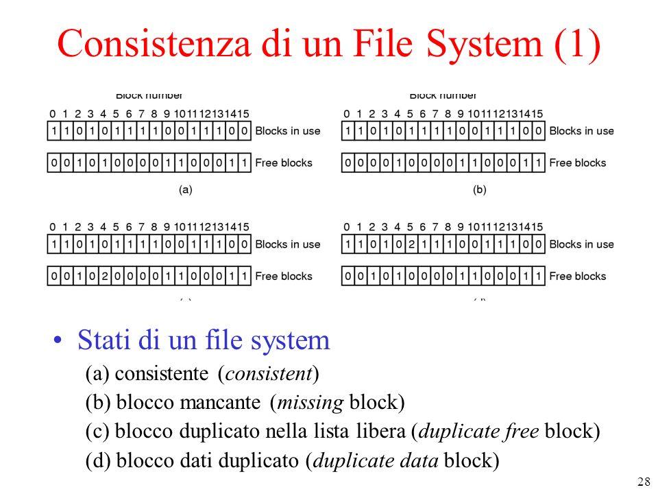 28 Consistenza di un File System (1) Stati di un file system (a) consistente (consistent) (b) blocco mancante (missing block) (c) blocco duplicato nel