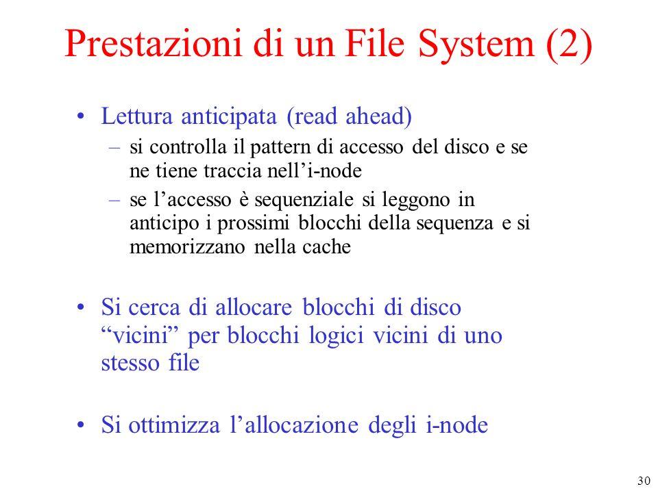 30 Prestazioni di un File System (2) Lettura anticipata (read ahead) –si controlla il pattern di accesso del disco e se ne tiene traccia nelli-node –s