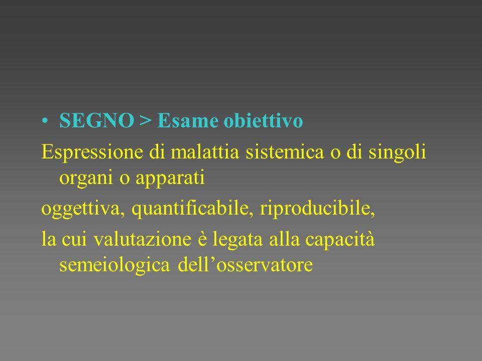 SEGNO > Esame obiettivo Espressione di malattia sistemica o di singoli organi o apparati oggettiva, quantificabile, riproducibile, la cui valutazione